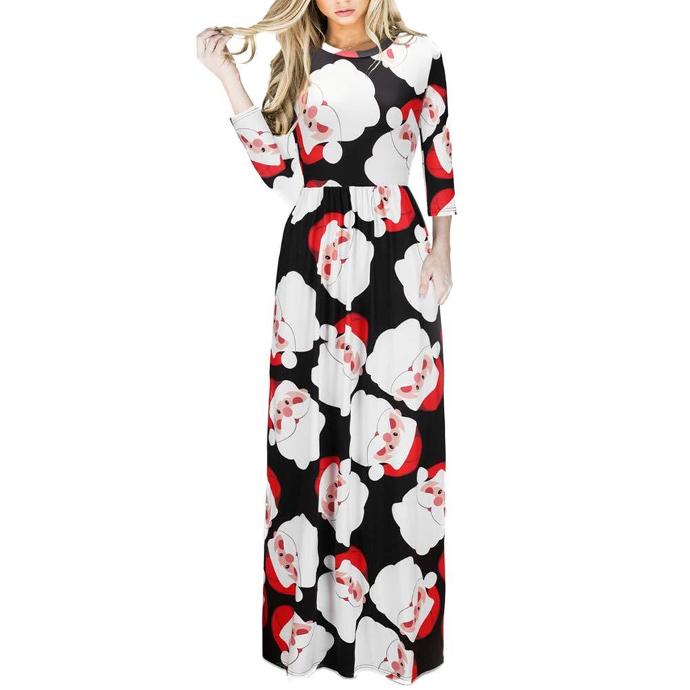 TALLA (EU50-52)3XL. Lover-Beauty Vestido Largo Floral Print Casual para Noche Fiesta Playa Fiesta Manga Larga Cuello Redondo Vestido Verano Cuello V Multicolor Navidad (EU50-52)3XL