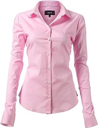 Harrms - Blusa básica para mujer, entallada, de manga larga, de algodón, de un solo color, lisa, para traje, trabajo, con bolsillo en el pecho, fácil de planchar, 11 colores Rosa. 46: