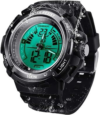 100m Agua Resistente Deporte Reloj de Buzo Submarino Cronómetro Sumergible con Función de Alarma, Soporte de Pantalla de Zona Horaria Dual, Formato de 12/24 Horas, Movimientos Digitales y Analógicos: Amazon.es: Relojes