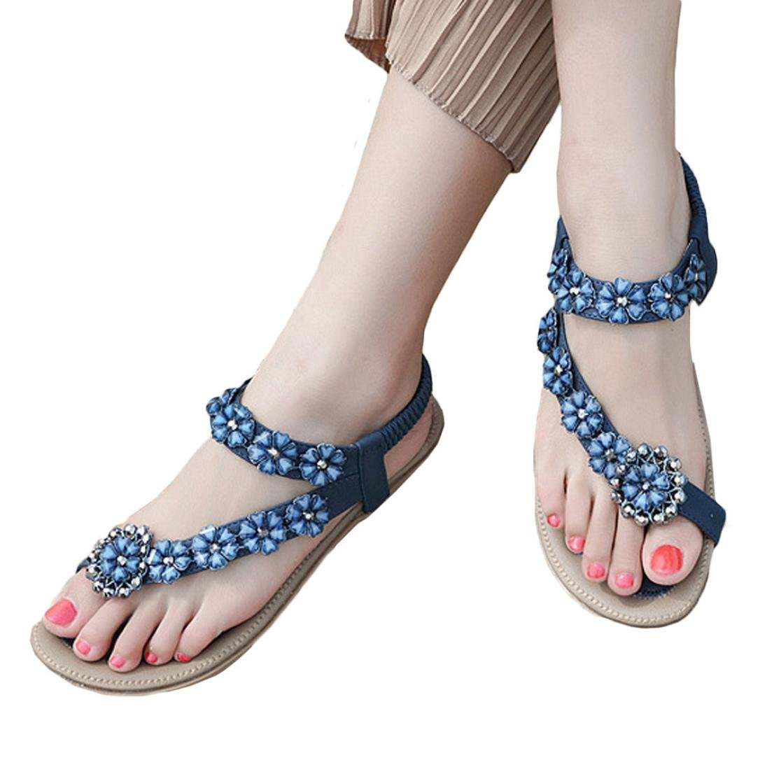 Todaies New Summer Women Sandals Flat Casual Beach Shoes Flower Rhinestone Sandals (US:8.5, Blue)