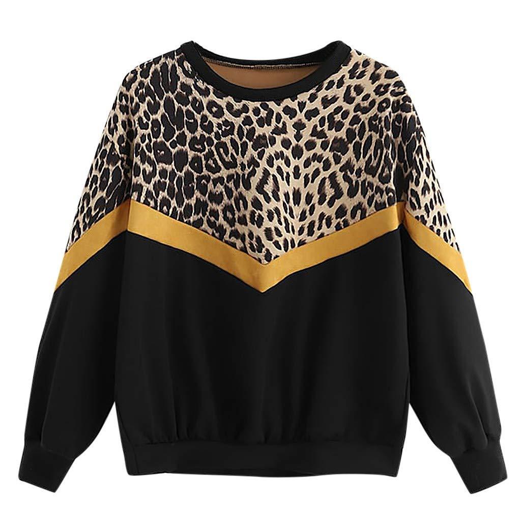 MERICAL Camicia Donna Felpa con Cappuccio a Manica Lunga con Stampa Leopardata Patchwork Casual da Donna di Moda