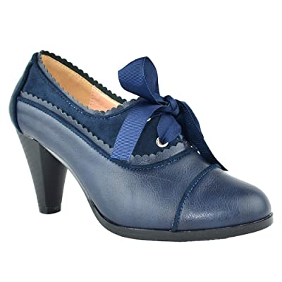 Women's Heeled Oxford Classic Retro Two Tone Wing Tip Cut-Out Lace Up Kitten Heel Mary Jane Pump Navy 5.5 | Oxfords