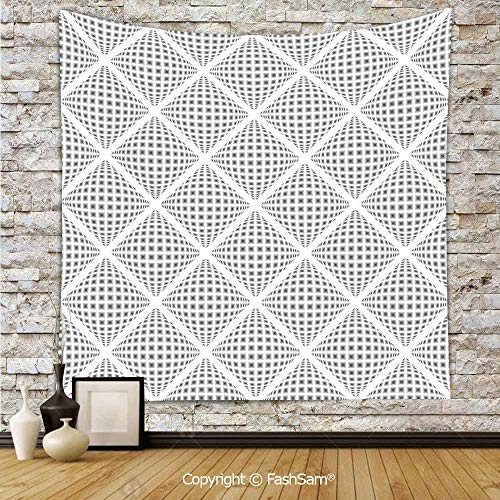 (FashSam Tapestry Wall Blanket Wall Decor Digital Geometric Volumetric Diamond Form with Dynamic Dashed Effects Web Lines Image Home Decorations for Bedroom(W59xL78))