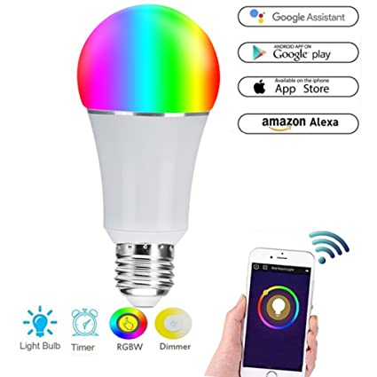 Hehong WiFi Smart Bulb, LED Multicolor Regulable 7W RGB Bombilla, Control Remoto y Voz