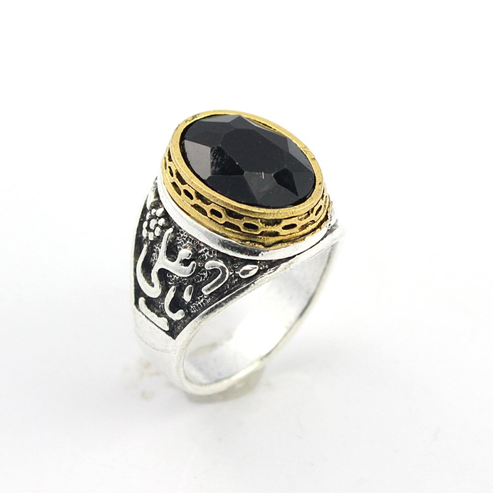 HIGH STONE BLACK QUARTZ FASHION JEWELRY SILVER PLATED AND BRASS RING 9 S22744