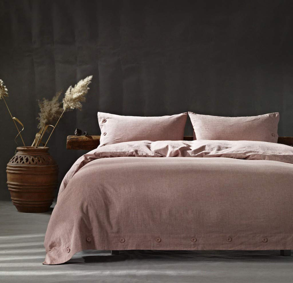 Full//Queen, Beige Abojoy Vintage Stone Washed Linen Cotton Blend Duvet Cover Solid Color Casual Modern Style Bedding Set Relaxed Soft Feel Natural Wrinkled Look
