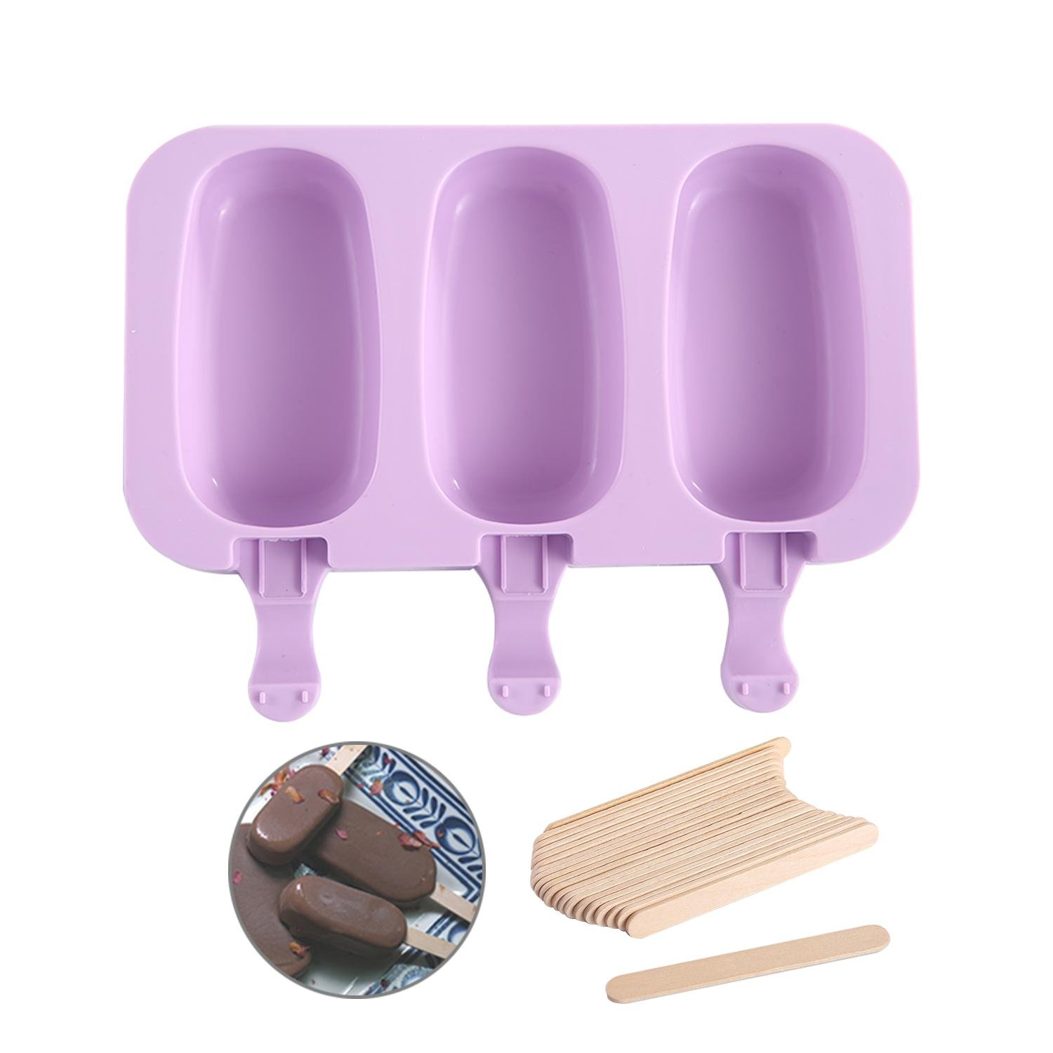 Aolvo Silicone Popsicle Molds, Easy Mini Ice Cream Maker with Wooden Sticks Homemade Cake Backing Molds BPA Free for Girls Boys and Adults,Light Purple