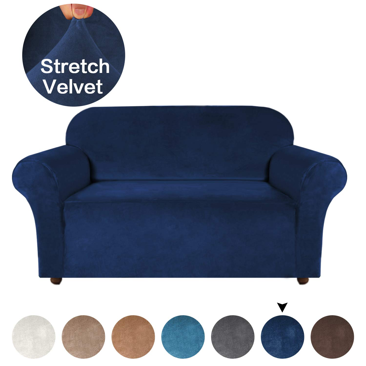 Plush Sofa Protector With Anti-Slip Foams, Machine Washable Covers for 2 Seater Couch Cover (Loveseat, Navy)