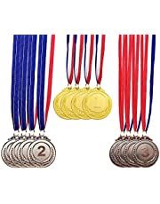 12 Pieces Metal Winner Gold Silver Bronze Award Medals with Neck Ribbon, Olympic Style, 2 Inches