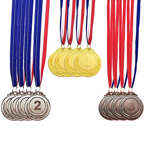 MOMOONNON 12 Pieces Metal Winner Gold Silver Bronze Award Medals With Neck Ribbon, Olympic Style, 2 Inches]()
