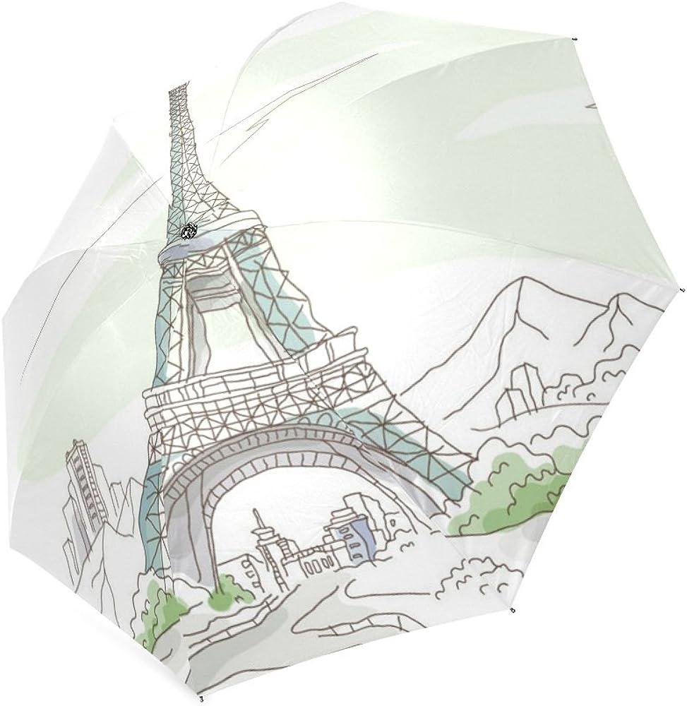 Umbrella Eiffel Tower Custom Umbrella Automatic Folding Umbrella Rainproof /& Windprrof