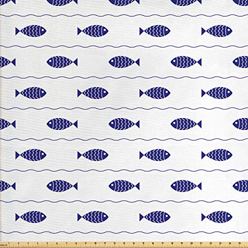 Lunarable Nautical Fabric by The Yard, Fishes Swimming in The Wavy Lines Sea Cute Baby Shower Marine Modern Graphic Art, Decorative Fabric for Upholstery and Home Accents, 2 Yards, Navy Blue (Outdoor Nautical Fabric)