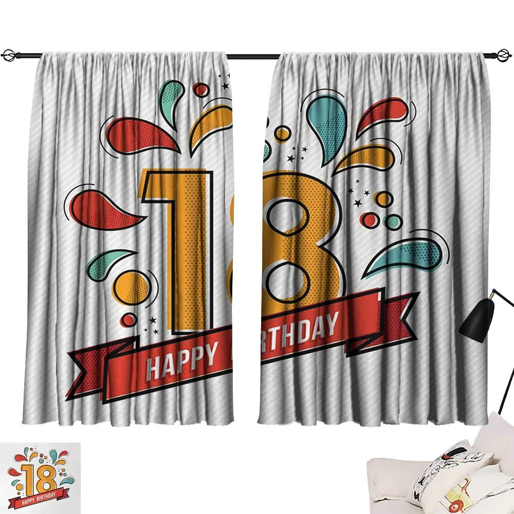 Jinguizi 18th Birthday Drapes/Draperies Multicolored Digital Print on Eighteen Years Happy Birthday Lettering Print Curtains,Extra Darkening Curtains Multicolor W55 x L39
