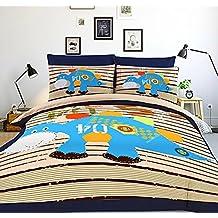 LELVA Children's Bedding Boys Cartoon Dinosaur Cartoon Bedding Set, Kids Bedding Boys, Twin Full Queen Size (Fitted Sheet, Twin)