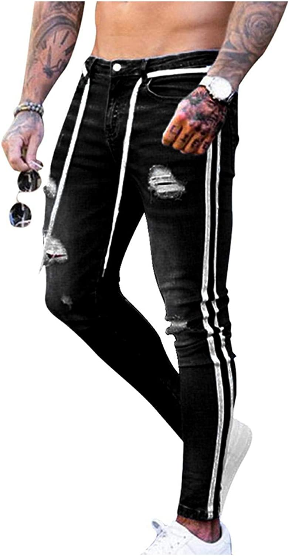 Mens Ripped Skinny Jeans Super Stretch Denim Designer Distress Freyed Stylish