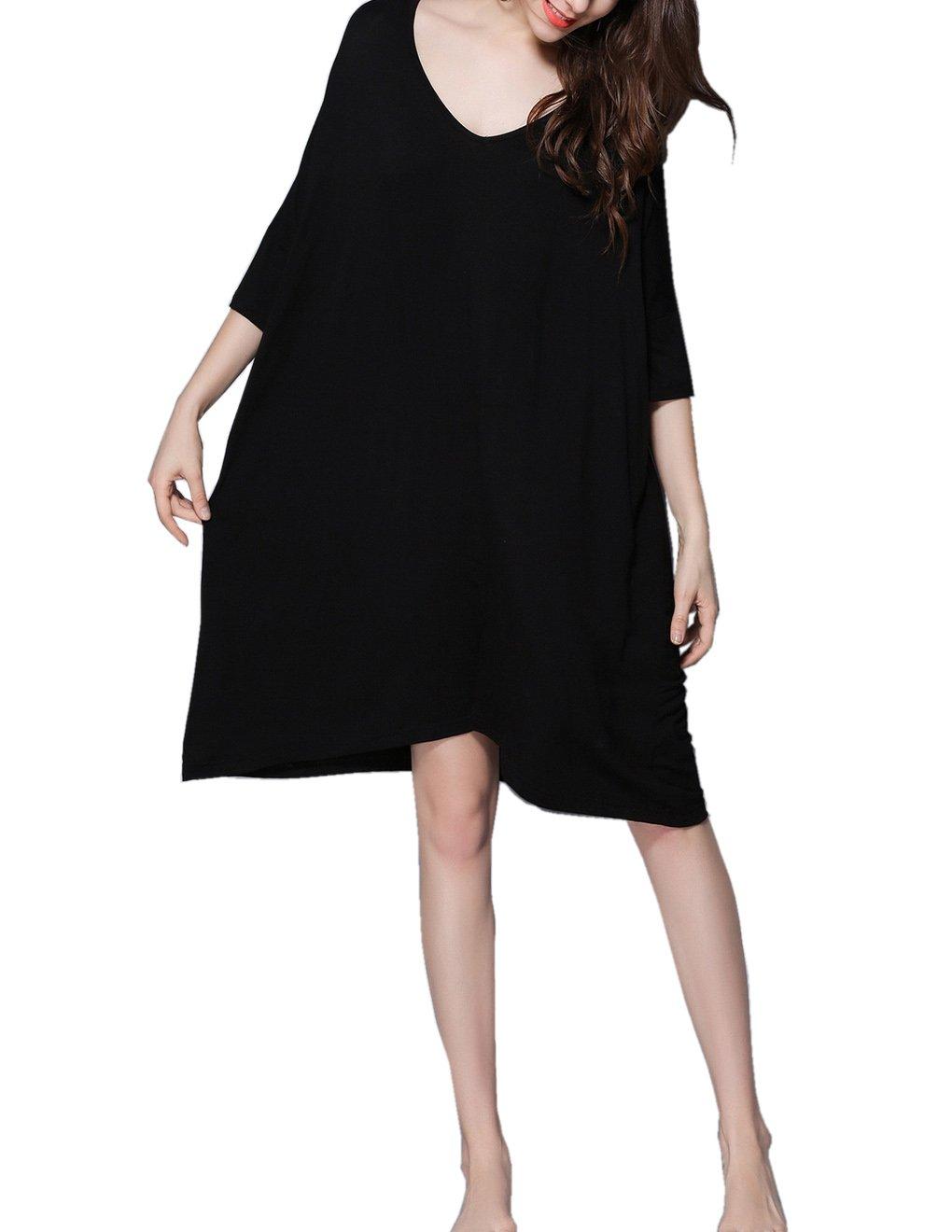 HONG HUI Women's Nightgown Modal V Neck Nightwear Loose 3/4 Sleeve Sleepwear,Black,Large