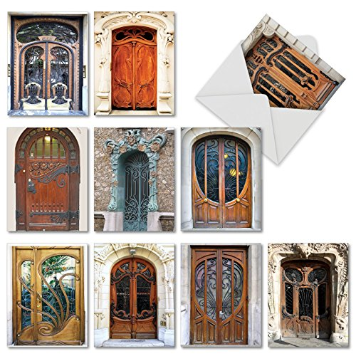 Motifs Art Nouveau (M4624OCB-B1x10 Art Nouveau Doors: 10 Assorted Blank All-Occasion Note Cards Featuring Images of Beautifully Ornate and Intricately Designed Doorways w/White Envelopes.)
