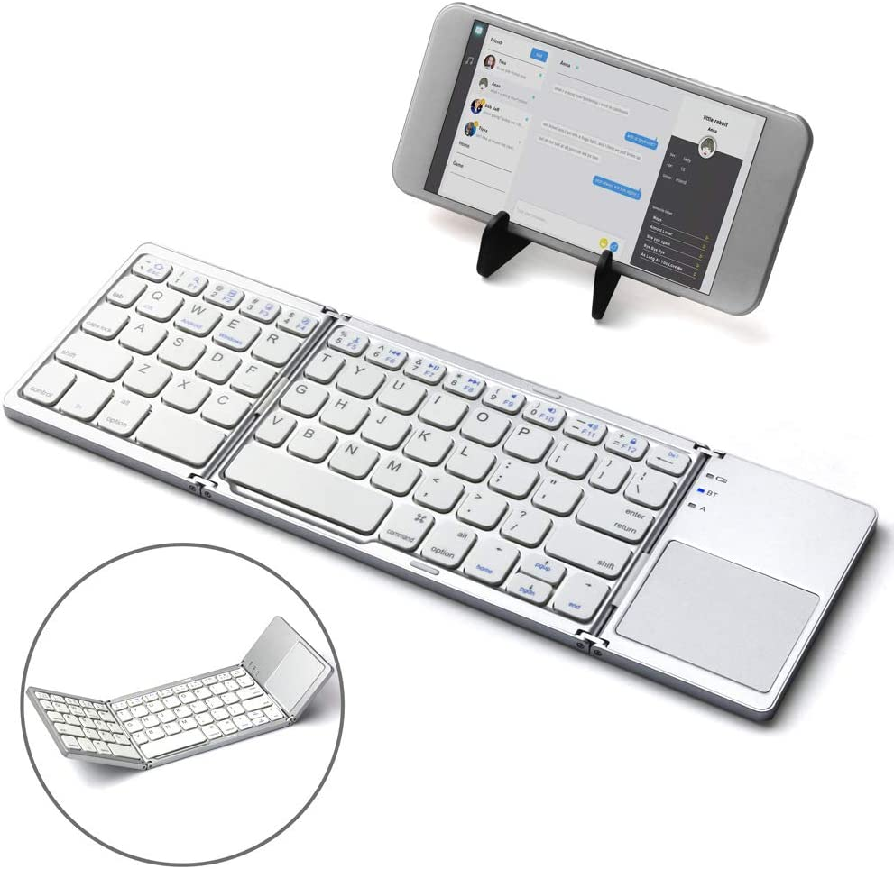 NCBH Touchpad Folding Bluetooth Keyboard Tablet Smartphone Notebook Universal Wireless Bluetooth Folding Keyboard Suitable for Indoor /& Outdoor Use