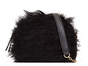 1229f23a866d Ladies Fluffy Feather Faux Leather Zipped Party Clutch Bag Purse ...