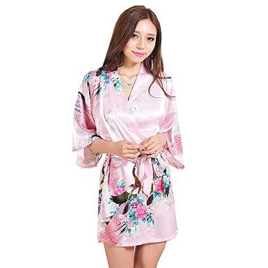 2344f82a41 Anwedding Damen Kurze Kimono Robe Bademantel Nachtwäsche mit Pfau und  Blumen Morgenmäntel: Amazon.de: Bekleidung