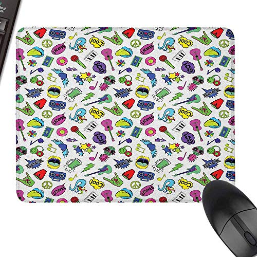 Art Decoration Mouse Pad Colorful Fun Music Themed Pattern with Instruments Cassettes Boombox Hand Gestures for Laptop, Computer and PC,15.7