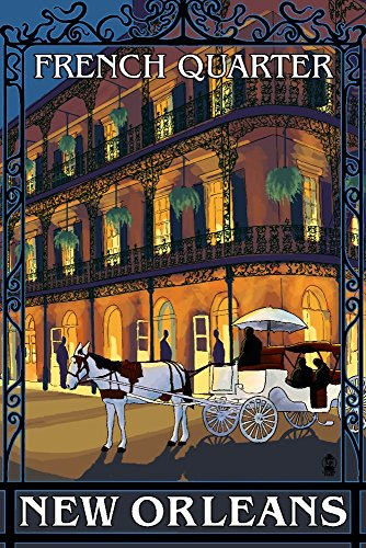 - New Orleans, Louisiana - French Quarter at Night (12x18 Art Print, Wall Decor Travel Poster)
