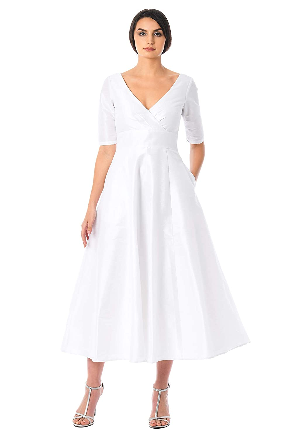 50s Wedding Dress, 1950s Style Wedding Dresses, Rockabilly Weddings eShakti FX Surplice Dupioni Tea Length Dress - Customizable Neckline Sleeve & Length $79.95 AT vintagedancer.com