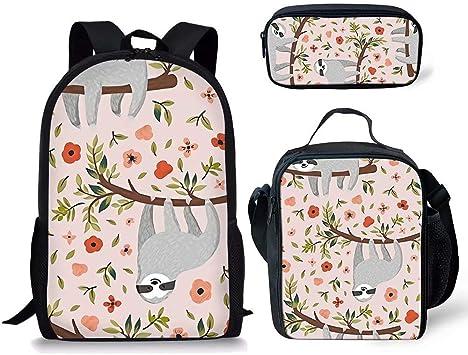 Chaqlin - Juego de 3 Mochilas Escolares para niños con diseño Floral y Caja de Comida aislada + Estuche con Cierre de Cremallera: Amazon.es: Equipaje