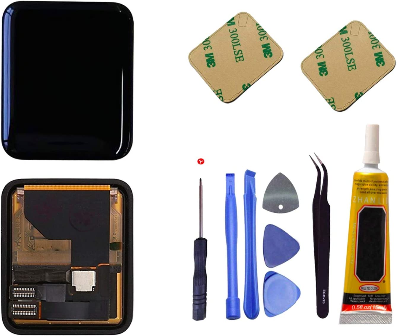 Ogodeal LCD Screen Replacement Repair Kit for Apple Watch Series 1 A1802 and (1st Generation) A1553 Sapphire Crystal Version LCD Screen Digitizer Assembly with Repair Tool Set 38mm