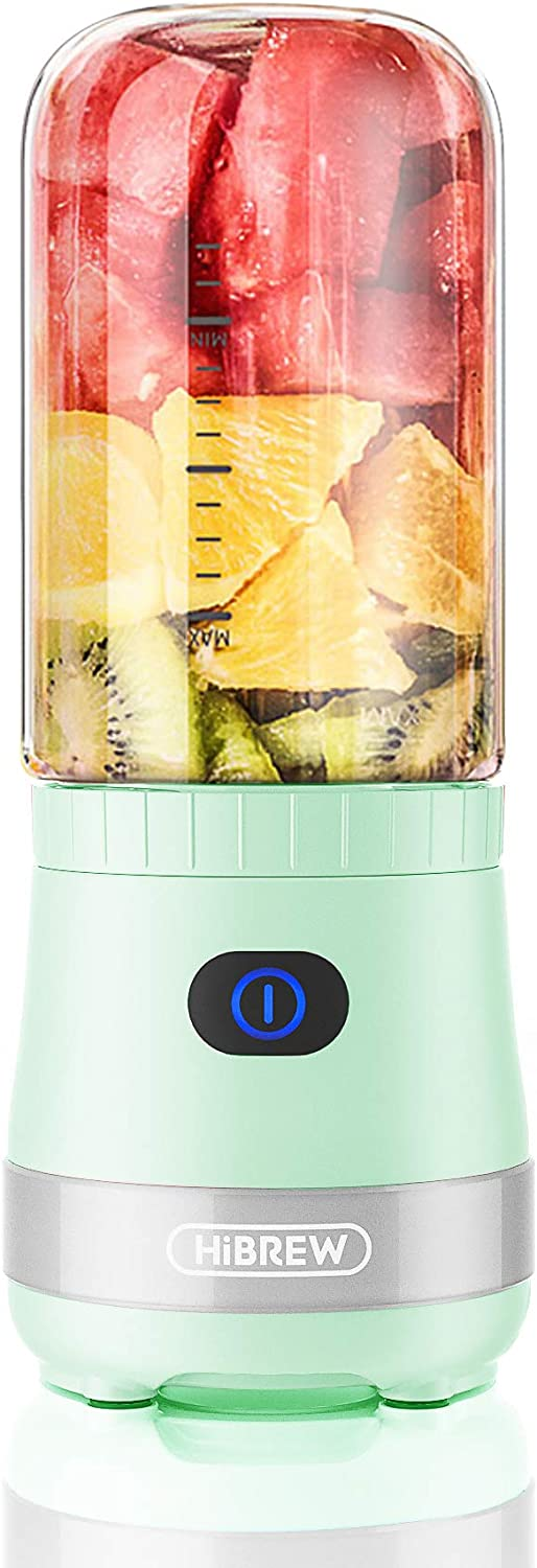 HiBREW Avocado Green Portable Mini Cordless Single Serve Personal Blender for Smoothies and Shakes, Juice Maker for Travel and Camping, 4000mAh Rechargeable USB, 15 oz BPA free Plastic Jug (Green)