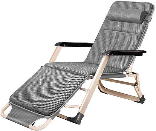 YLCJ Sillas reclinables Sillas Plegables Relax by Gravity Sillas de jardín con tumbonas Zero en la Playa con Relleno de algodón Gris: Amazon.es: Jardín