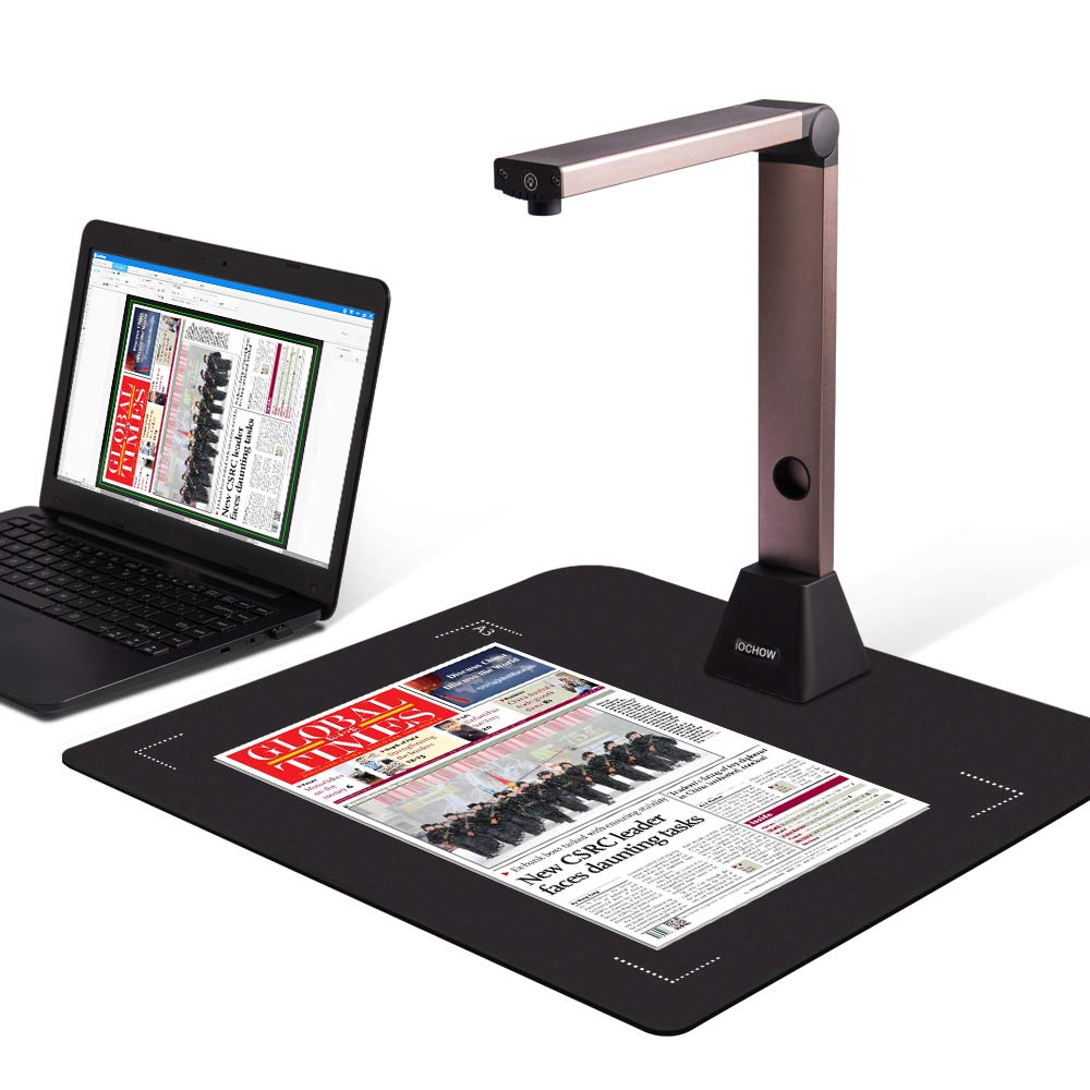 Document Camera iOCHOW S1, High Definition Portable Scanner, Capture Size A3, Multi-Language OCR, English Article Recognition, USB, SDK & Twain for Office and Education Presentation by iOCHOW