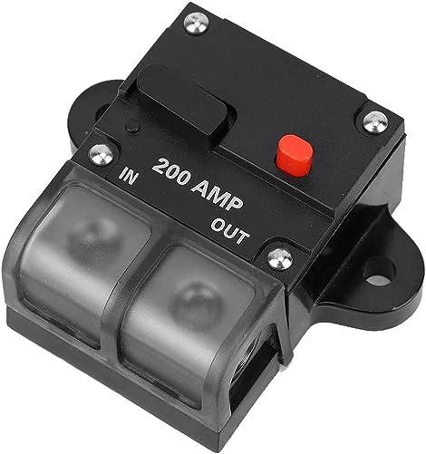 Akozon Circuir Breaker, 12-42V Car Boat Manual Reset Inline Stereo Audio Circuit Breaker Fuse Holder 200A