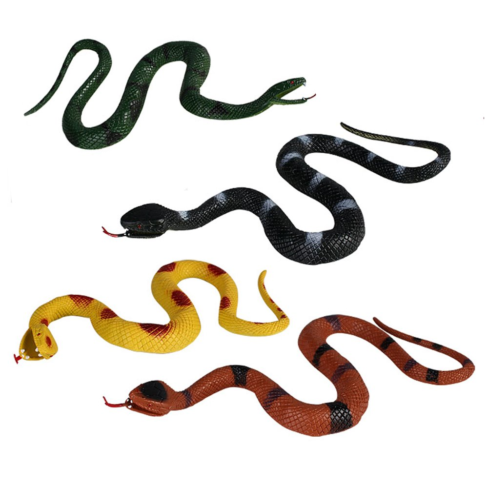 MUMULULU 4 PCS Realistic Rubber Snake Novelty Scare Toys for Garden Props Practical Joke