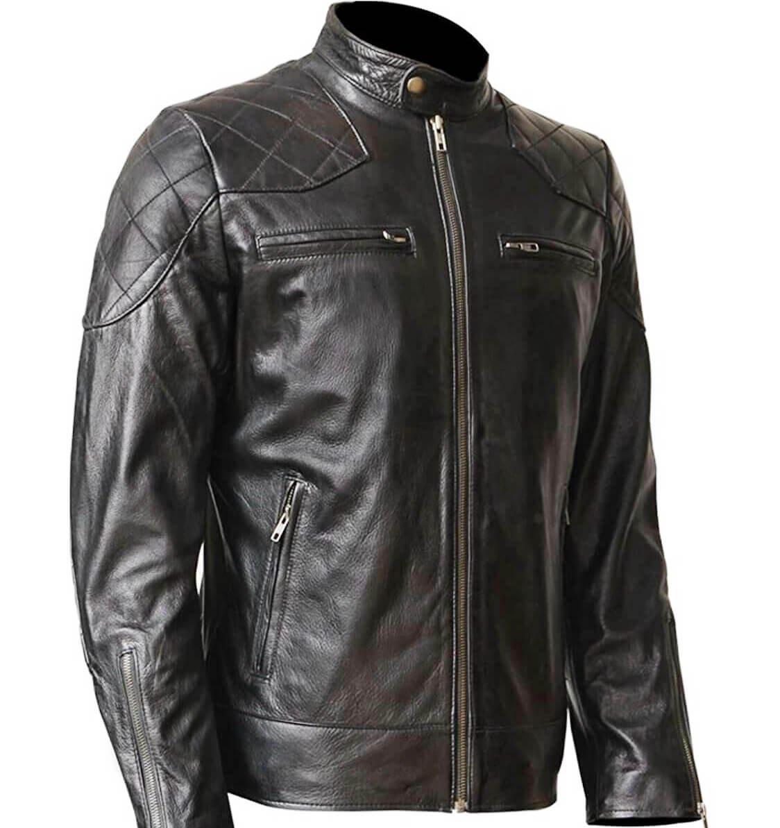 Black,WONDERPIEL Men's Genuine Leather Jacket Stand Collar - Black Motorcycle Slim Fit,X-Large,Black