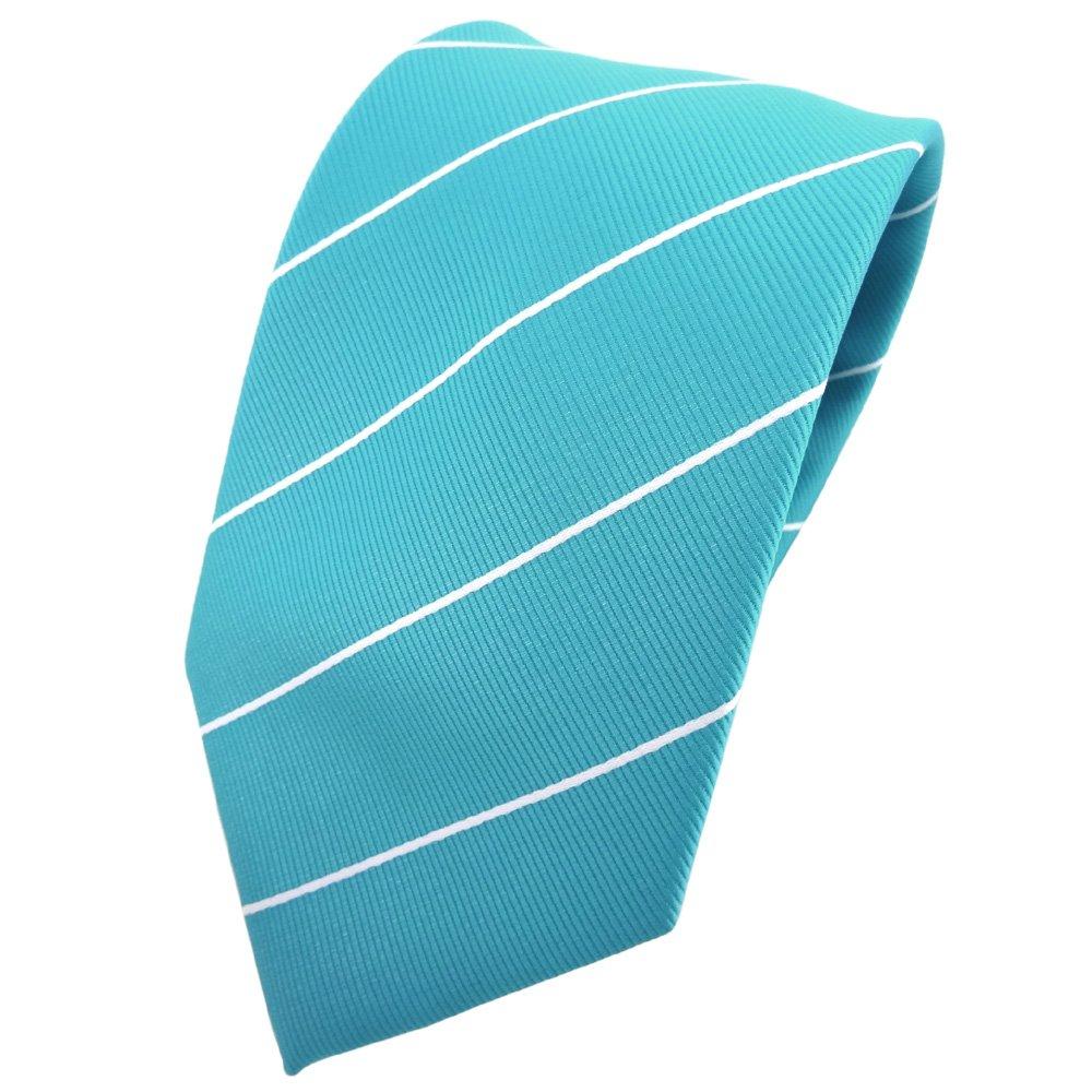 TigerTie - Corbata - turquesa azul turquesa plata rayas: Amazon.es ...
