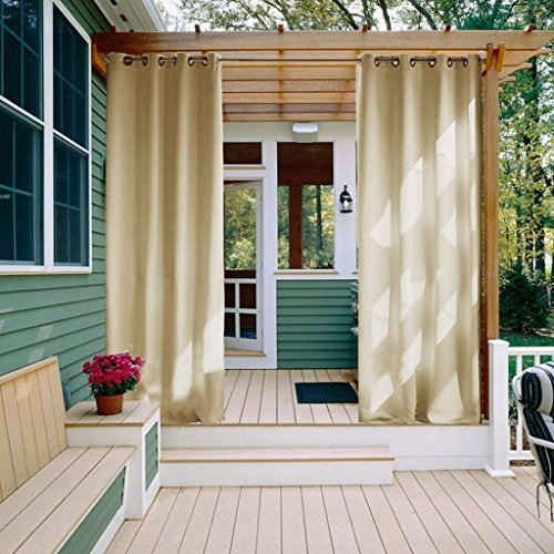 Cheap  NICETOWN Patio Outdoor Privacy Curtain Pergola Triple Weave Microfiber Silver Grommet Top..