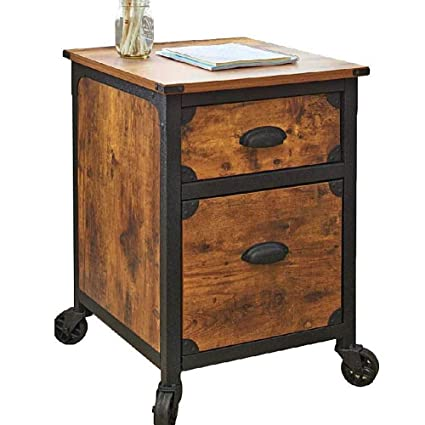 Lateral Filing Cabinet With 2 Drawers Industrial File Cabinet Fixed Wheels  Rustic Filing Organizer Antique Office