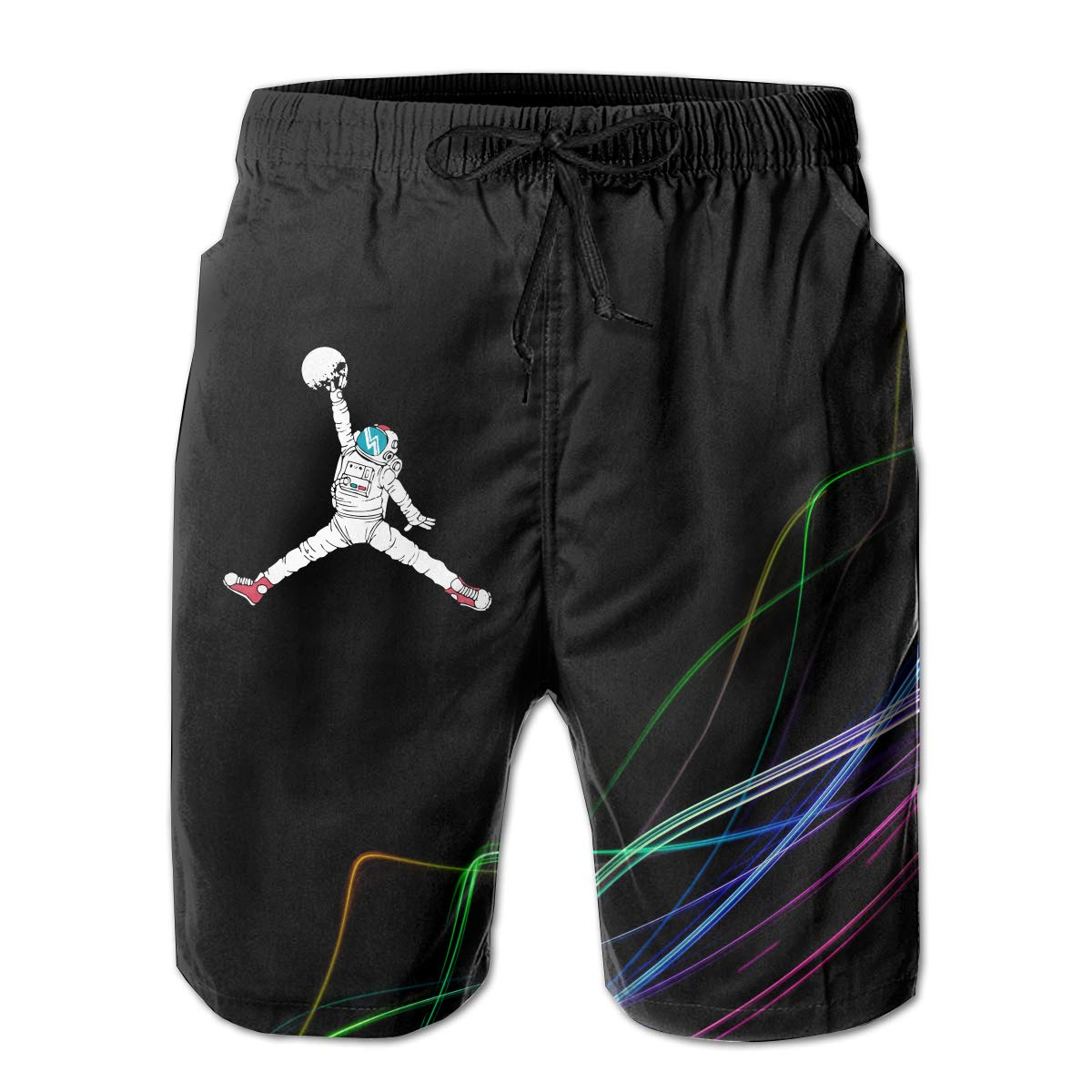 STLYESHORTS Space Dunk Mens Board Shorts Swim Trunks Beachwear Relaxed-Fit Swim Shorts