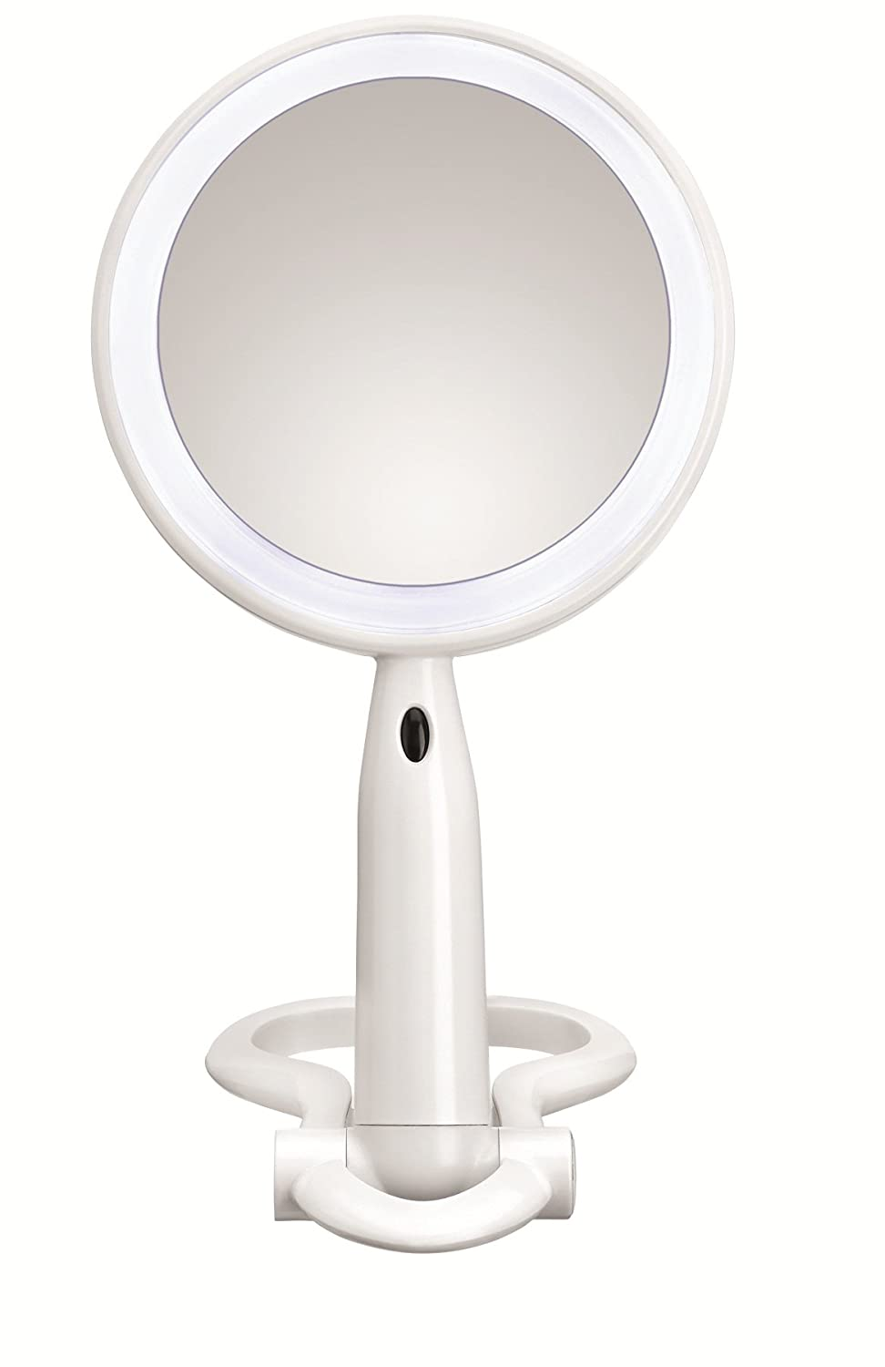 Conair Plastic Double-Sided Lighted Makeup Mirror - Lighted Vanity Makeup Mirror with LED Lights; 1x/3x magnification; White; compact - great for travel