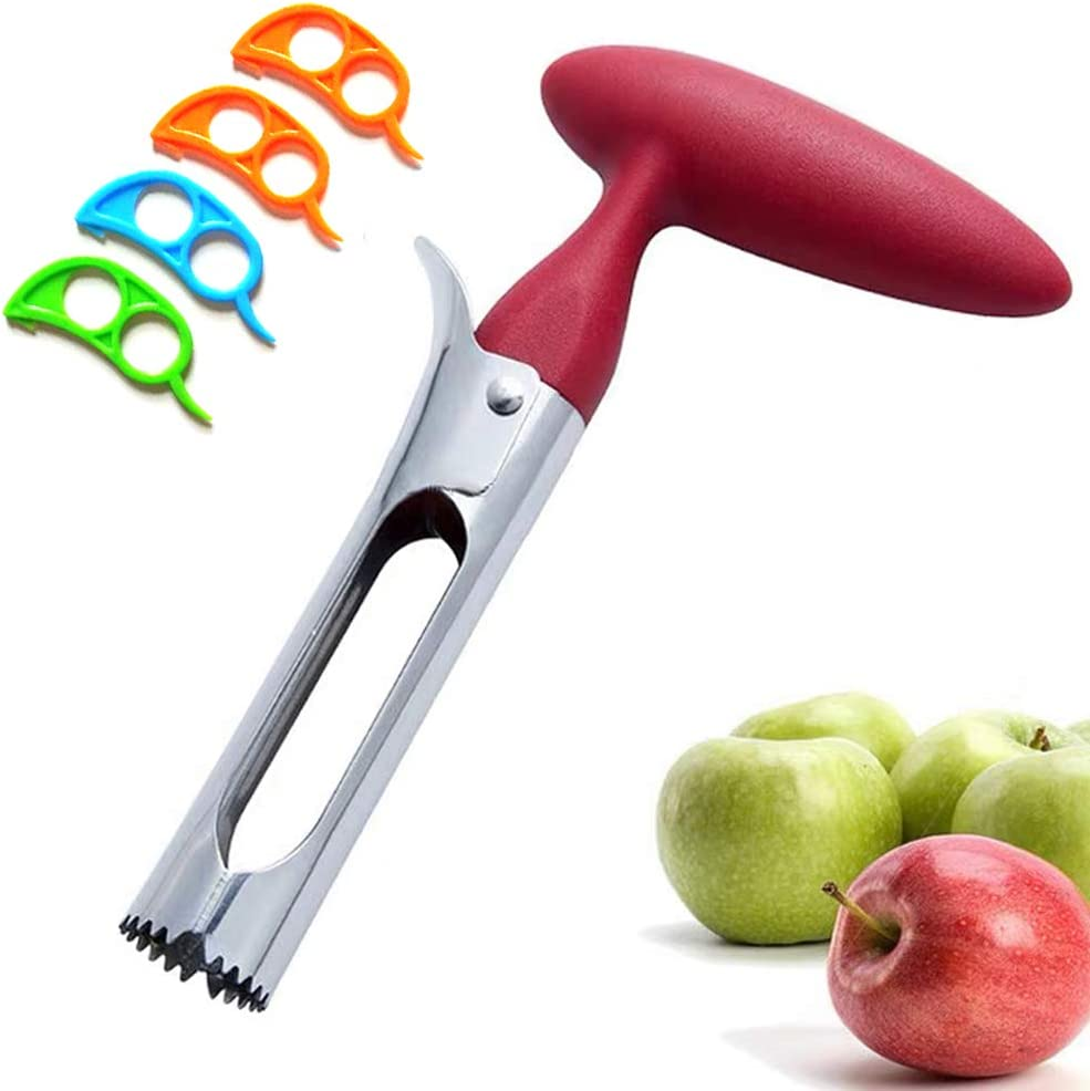 Apple Corer, Stainless Steel Bell Pepper, Apple or Pear Core Remover with 4 Pcs Orange Citrus Peeler
