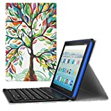 MoKo Keyboard Case for All-New Amazon Fire HD 10 Tablet (7th Generation, 2017 Release Only) - Wireless Keyboard Cover with Auto Wake/Sleep for Fire HD 10.1 Inch Tablet, Lucky Tree