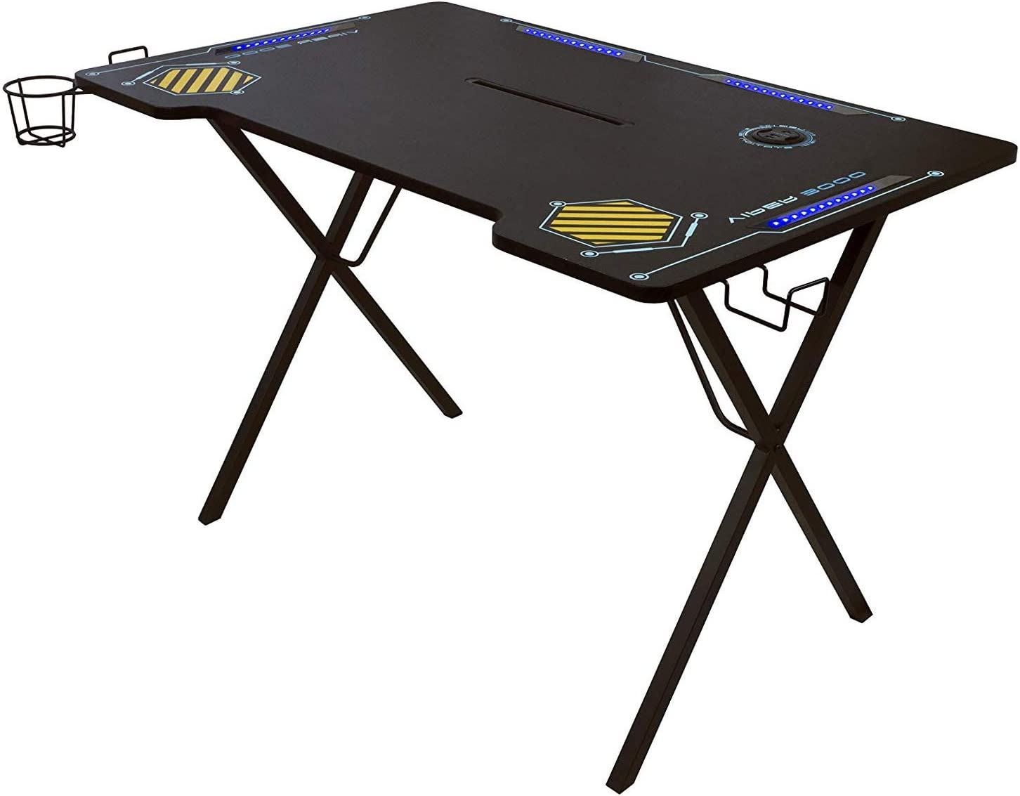 Atlantic Gaming Desk Viper 3000 - Computer Gaming Desk, LED Illumination, Three USB 3.0 Ports, Tablet/Phone Slot, Cup Holder, Dual Headphone Hooks, Storage Tray, Satin Finish Surface, PN33906164