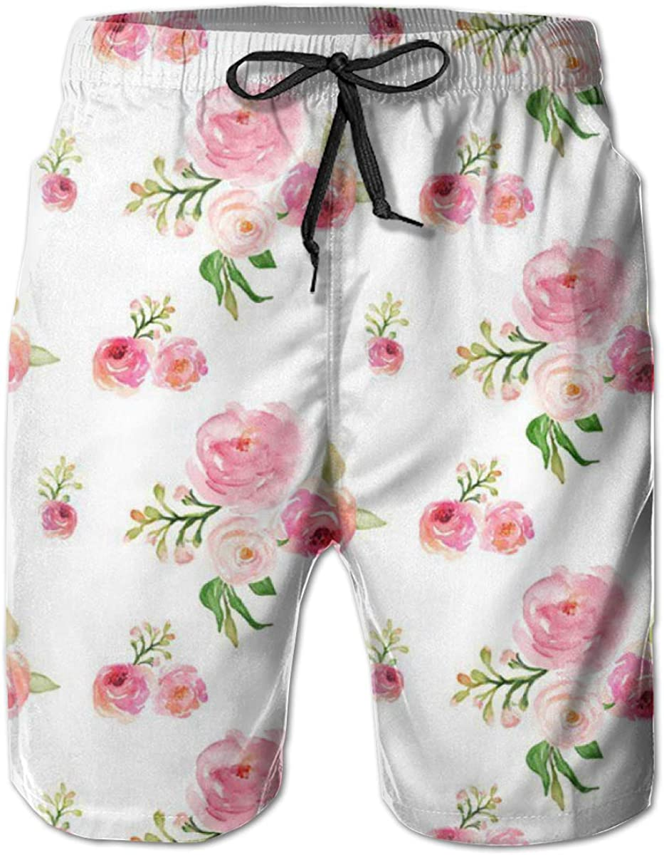 FASUWAVE Mens Swim Trunks Quick Dry with Mesh Lining Boho Roses for Julie Mens Bathing Suits