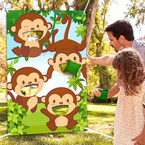 Blulu Jungle Animals Bean Bag Toss Games with 3 Bean Bags Forest Theme Party Games Decoration for Children Baby Shower Family Jungle Animals Theme Party Favor Supplies (Toss Bean Bag Animal)