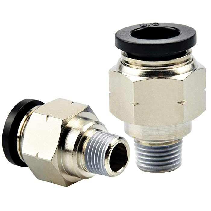 Tailonz Pneumatic Male Straight 1/4 Inch Tube OD x 1/8 Inch NPT Thread Push to Connect Fittings PC-1/4-N1(Pack of 10)