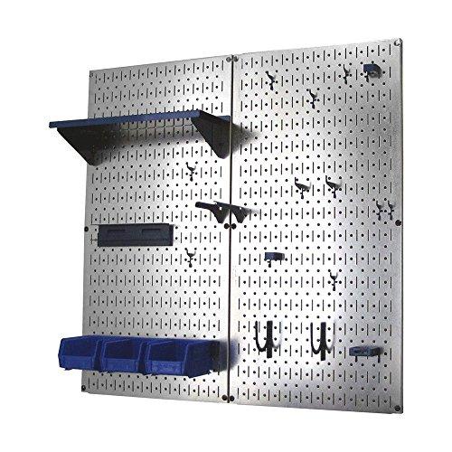Wall Control Metal Pegboard Organizer Utility Tool Storage and Garage Pegboard Organizer Kit with Metallic Pegboard and Blue Accessories - Garage Organizer Kit