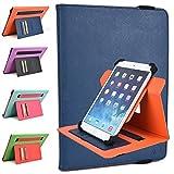 Kroo Kocaso MX1037 Rotating Cases | Ink Blue/Orange TwoTone Portrait or Landscape Orientation 360 Stand Cover