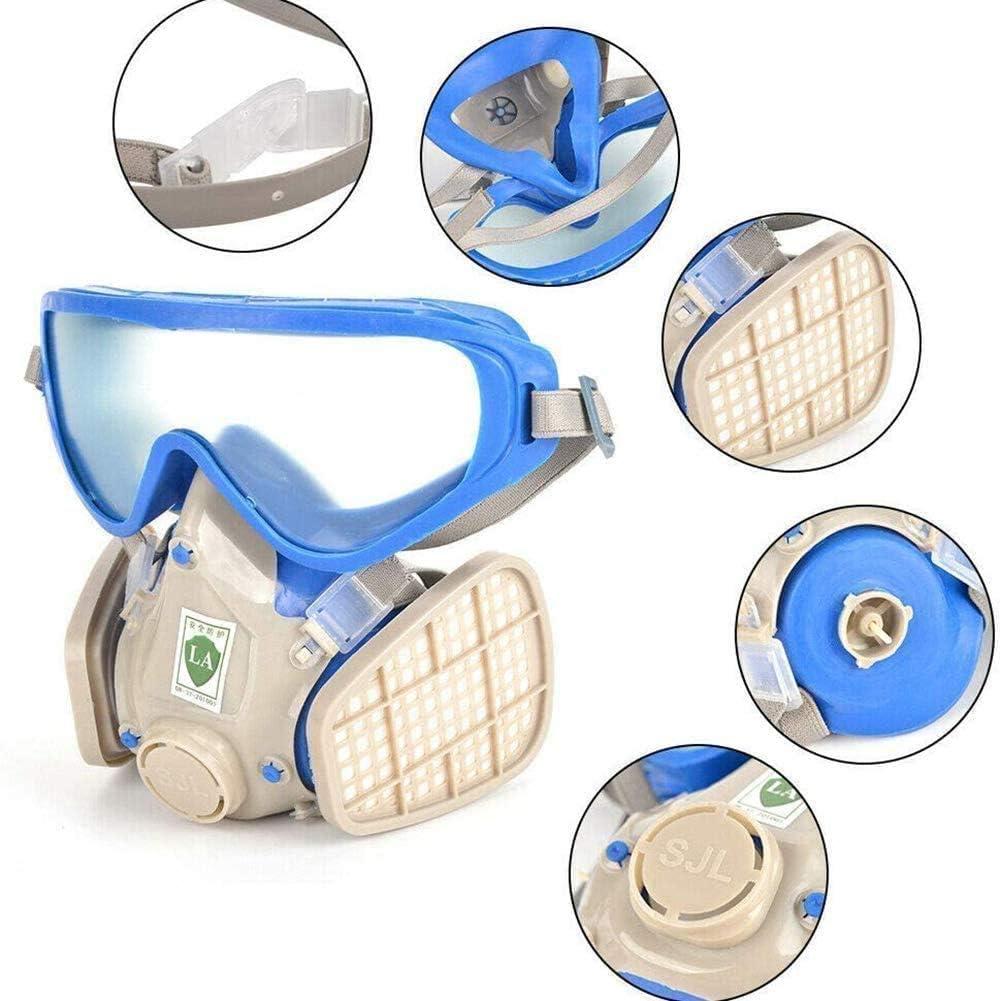 WFGZQ Equipo De Protección Personal Respirador Kit, (con Gafas) Gas Orgánica Capa Química De Madera De Protección contra El Polvo para Varias Personas, Puede Ser Reutilizado, con Función Anti-Gas