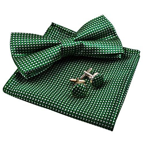 Alizeal Men's Vintage Checkered Bow Tie& Handkerchief& Cufflinks Set (Dark Green) (Square Cufflinks Vintage)